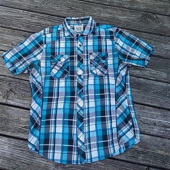 Rustic Blue Other - Plaid short sleeve button down shirt